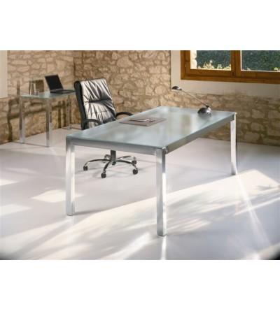 Mesa de oficina estructura cromada y cristal
