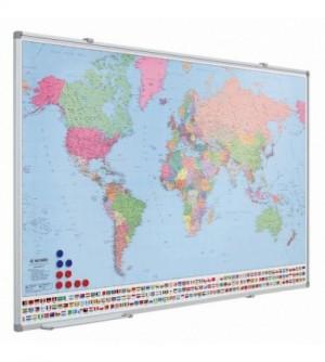 Mapa magnético plastificado y enmarcado con perfil